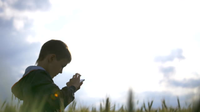 boy using a mobile phone against evening sky, boy playing on the phone, sms video