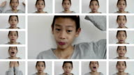 Boy with many facial expressions video