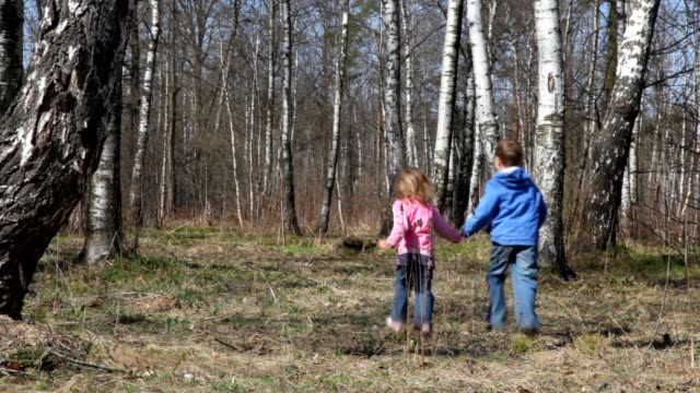 Boy with sister runs from camera to spring forest video