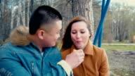 Boyfriend Feeds his Girlfriend with Pancake video