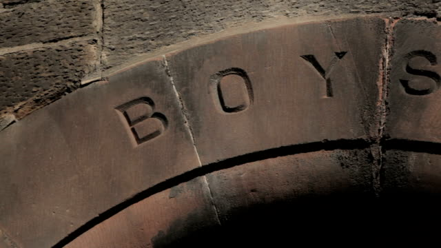 Boys only entrance to a Victorian School video