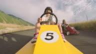 Boys Racing Homemade Soap Box Race Cars video