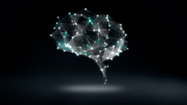 Brain connect digital lines, expanding artificial intelligence video