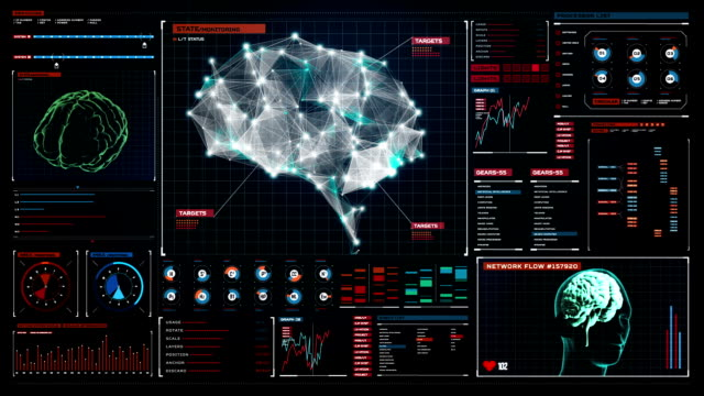Brain connect digital lines in digital display, artificial intelligence video
