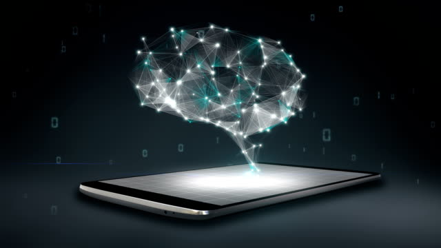 Brain connect digital lines on smartphone, mobile, artificial intelligence video