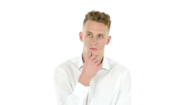 Brainstorming, Pensive Young Businessman, White Background video