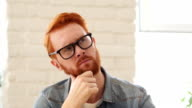 Brainstorming, Thinking Pensive Man with Beard and Red Hairs, Portrait video