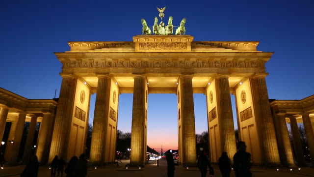 HD: Brandenburg Gate at night, Berlin video