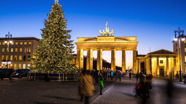 Brandenburger Tor with Christmas Tree, time lapse video