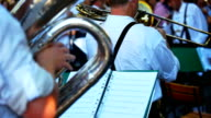 Brass Band In Open Air Concert Closeup video