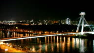 Bratislava bridge at Night - Slovakia, Time lapse video