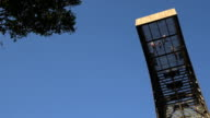 Brave tourist people walking high in sky on observation place tower in nature. video