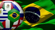 Brazil Flag and Soccer Ball (Loopable) video
