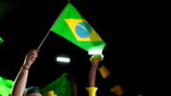 Brazil flags and confetti - Crowd, fans, Supporters (Olympics) video
