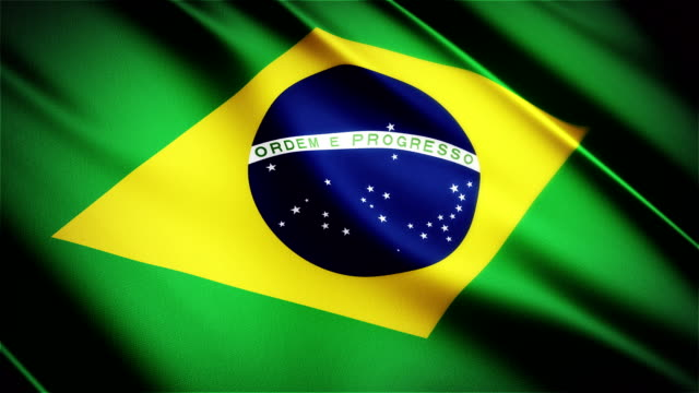 Brazil realistic national flag seamless looped waving animation video