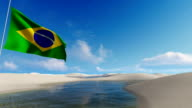 Brazilian flag, waving against sand dunes in the Lencois Maranhenese video