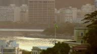Brazillian flag waving in sunlight, Rio de Janeiro, Brazil video