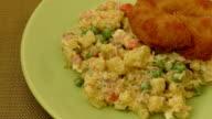 Breaded chicken schnitzel with potato salad video