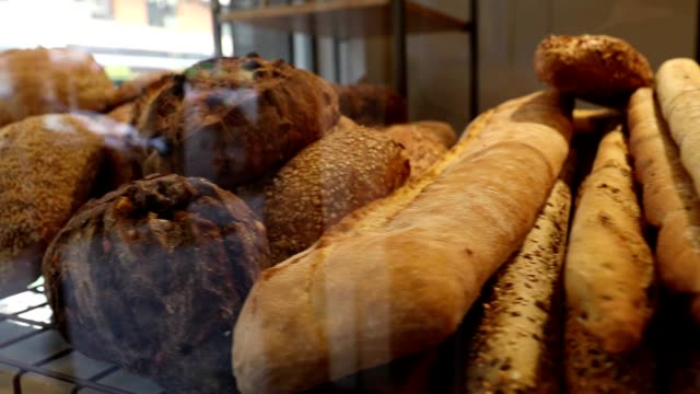 Breads on display at bakery store video