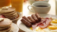 Breakfast foods, dolly movement video