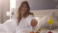 Breakfast in Bed. People Waking up. video