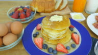 breakfast set . Front view. Close up. From left to right . video