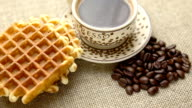 Breakfast with coffee and homemade waffles video