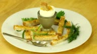 Breakfast with soft-boiled egg and toast video