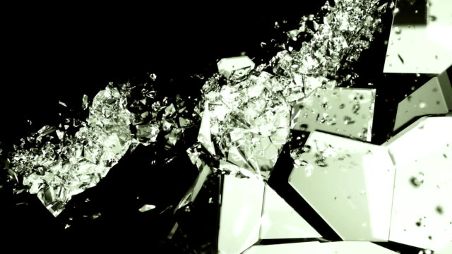 Breaking glass with in slow motion on black. Alpha video