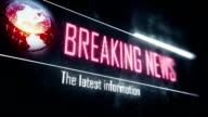 Breaking news, latest information screen text, system message, notification video