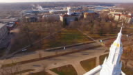 Breathtaking aerial flyover of Lawrence University campus in Appleton, Wisconsin. video