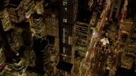 breathtaking helicopter shot of illuminated city at night video
