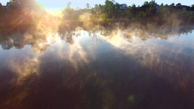Breathtaking Scenic Aerial Flyover of Steaming River at Daybreak video