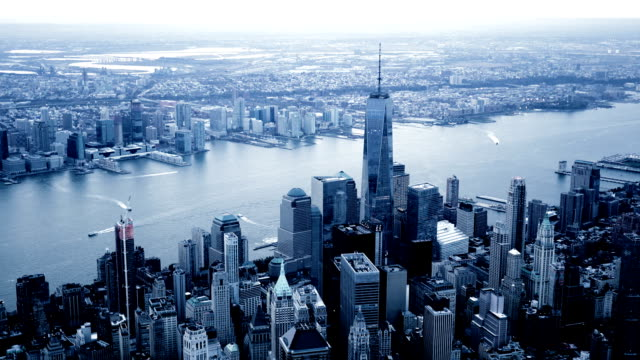 breathtaking view of city metropolis on a cold dark day video