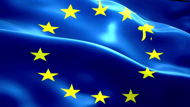 brexit european flag and united kingdom of great britain england flag show with fade, crisis of eurozone brexit, vote referendum for uk exit video