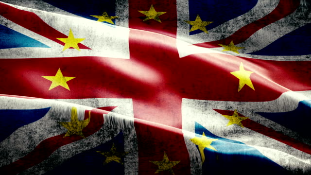 brexit grunge uk england great britain flag with european union EU yellow stars, vote for referendum united kingdom exit video