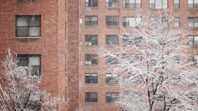 brick apartment building in snow - day video