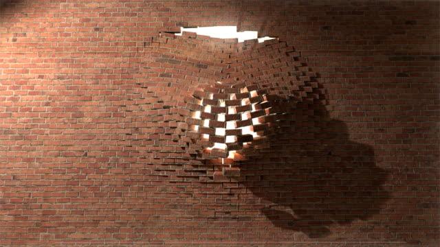 Brick wall break through demolish smash escape to white light 3 video