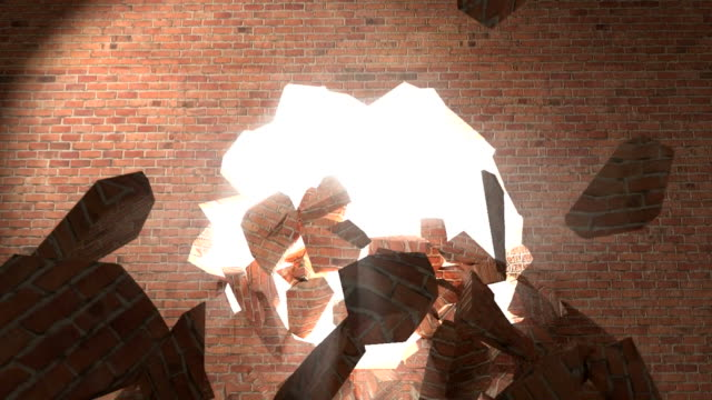 Brick wall break through demolish smash escape to white light video