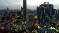 Brickell Miami at dusk aerial drone video video
