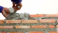 Bricklayers are building a wall video