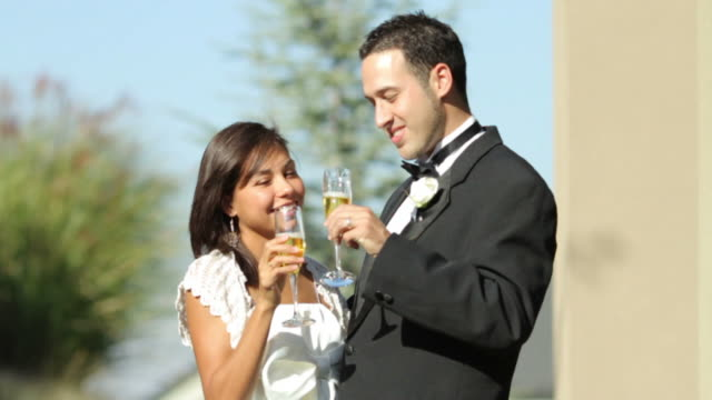 Bride and groom at wedding have champagne video