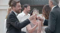 SLO MO Bride and groom clinking glasses with guests video