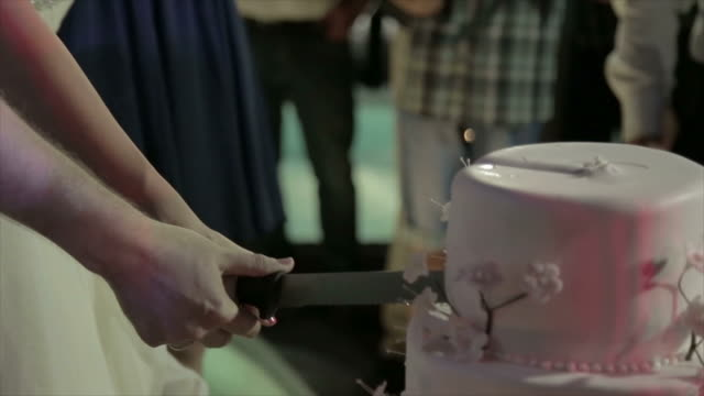 Bride and Groom cutting the Wedding Cake with knife video