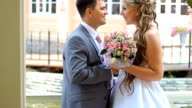 Bride and groom embrace video