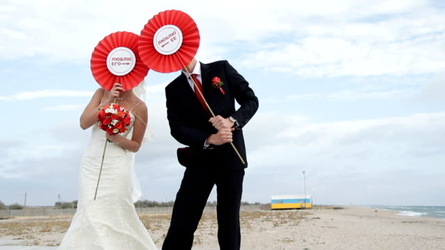 Bride and groom on a beach video