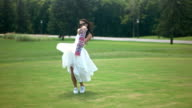 Bride on background of nature. video