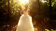 Bride Running in Forest Slow Motion HD video