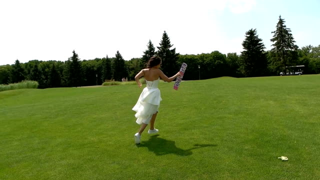 Bride running in slow-mo. video