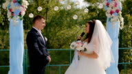 Bride says the oath at wedding ceremony video